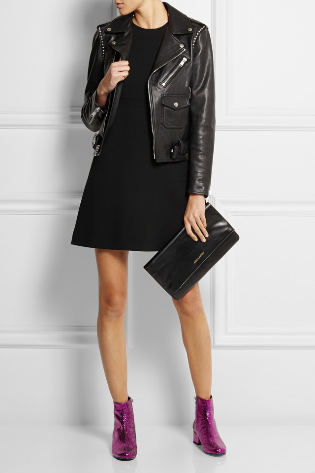 Saint Laurent glitter finished leather ankle boots, outfit inspiration with black biker jacket