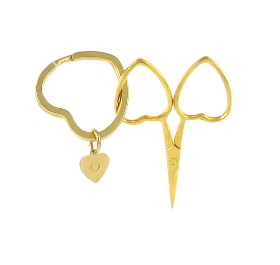 Heart shaped embroidery scissors and key ring with heart charm