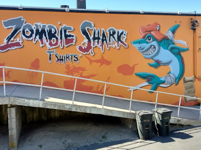 Zombie Shark T-Shirts Street Art in Wildwood, New Jersey