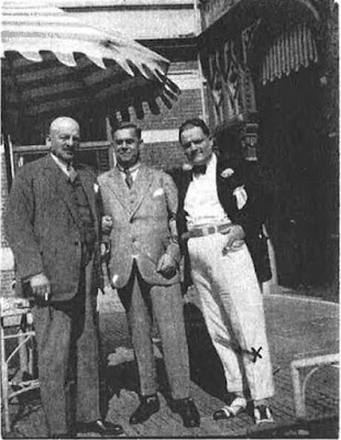 Arthur Albert Tester (at right) ca 1928 - the photograph shows his rather stout physique. Photograph given to the Metropolitan Police by the  Dutch Vice Consul. The other two men are Germans: circa 1928 - Professor Goldberg of Berlin (centre) and Franz Shiften of Starnberg near Munich (left) (MEPO 3895)