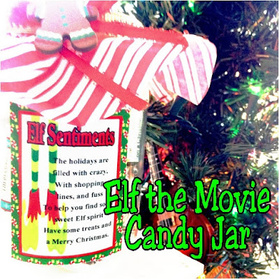 Celebrate Christmas with your favorite Elf! Buddy the Elf movie quotes are printed on to fun candy bar wrappers perfect for the Elf lover as a great Christmas gift idea. Grab it now before Christmas is over. #elfmovie #buddytheelf #candyjar #christmasgift #diypartymomblog
