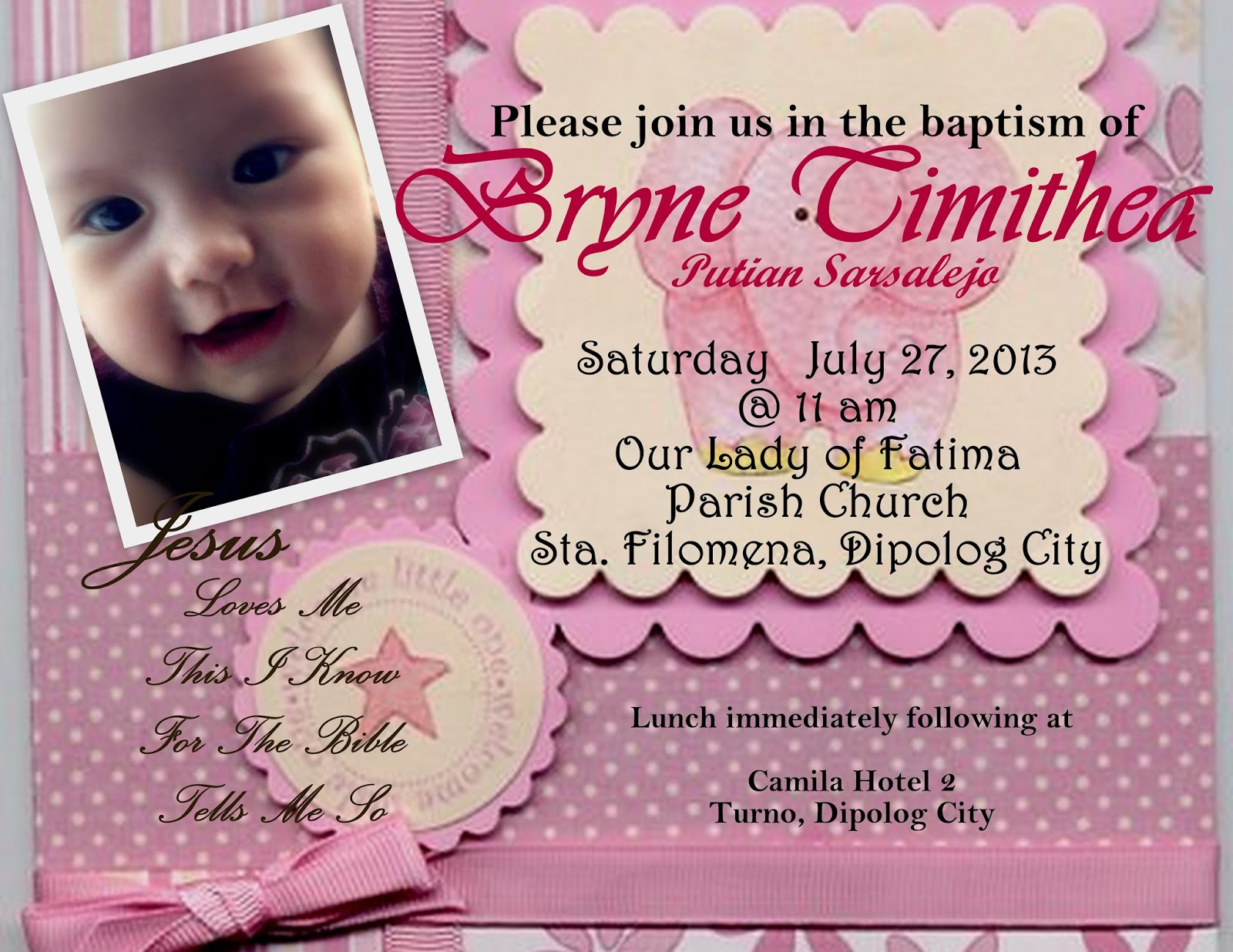 Lovemyredeemer My Diy Baby Girl Christening Invitation Card