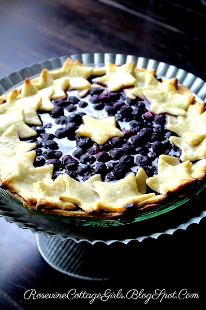 Independence Day themed dessert blueberry pie, Blueberry pie recipe, Patriotic Blueberry Pie, Organic Blueberry Pie By Rosevine Cottage Girls