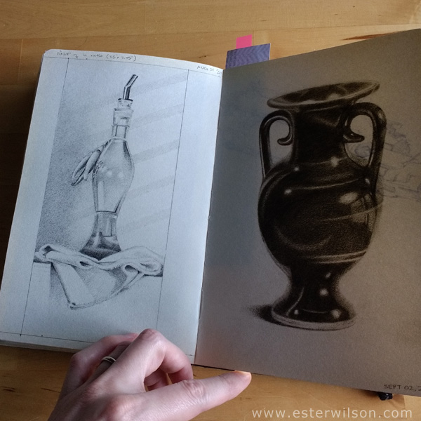 Drawing practice for paintings. Getting all sides drawn symmetrical on vases and bottles can be a big challenge.