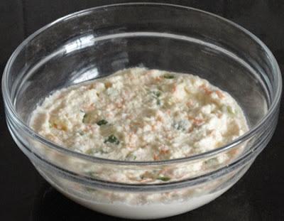 vegetables mixed to make rava dhokla
