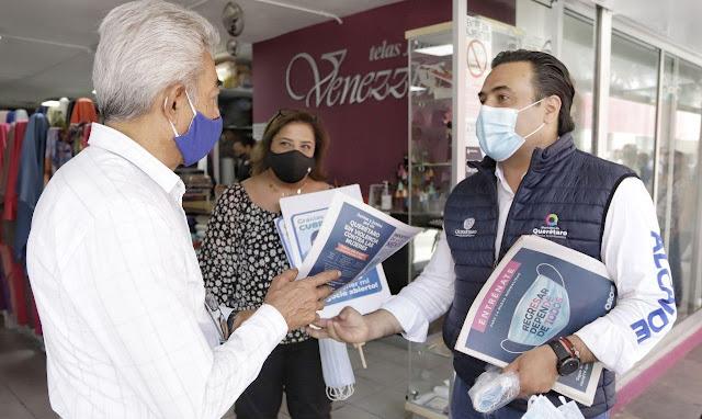 Exhortan al uso de cubreboca en Querétaro para mantener el rumbo de la reactivación económica