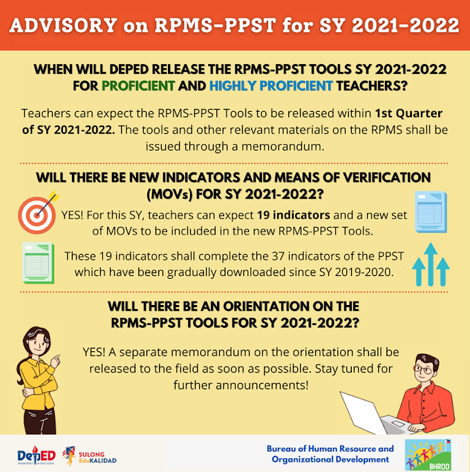 DepEd BHROD announces latest update on RPMS-PPST Tools for SY 2021-2022