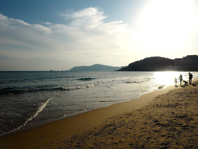 Late afternoon sunlight on Haeundae beach, Busan, South Korea