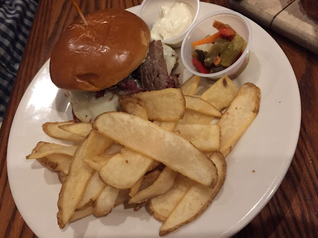 Smoked brisket sandwich with horseradish sauce and giardinera at One Eleven Main in Galena, Illinois