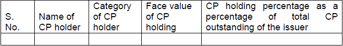 List of top 10 CP holders (as on …….)