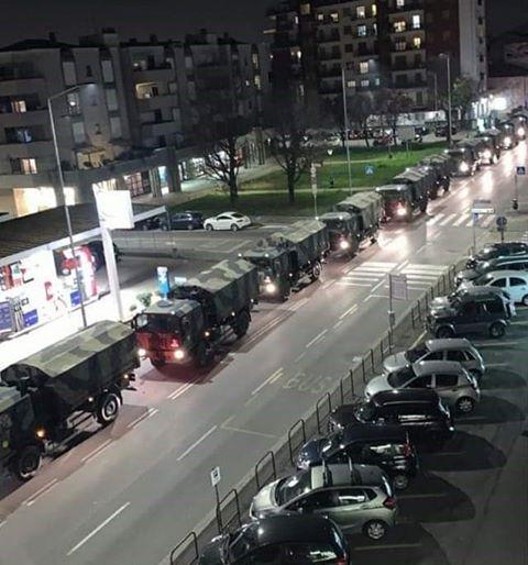 Εφιαλτικές εικόνες από την Ιταλία – Στρατιωτικό κομβόι μεταφέρει πτώματα