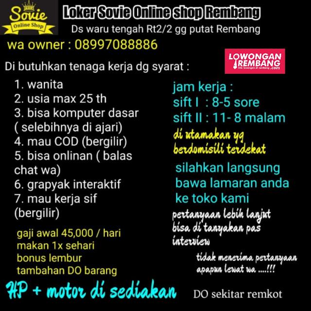 Lowongan Kerja Pegawai Sovie Online Shop Rembang Tanpa Syarat Pendidikan