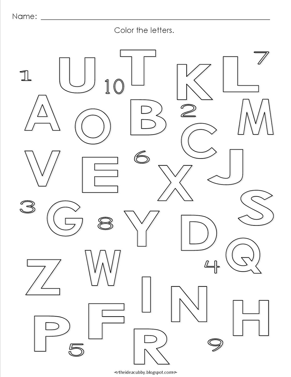 The Idea Cubby: Alphabet Coloring Page