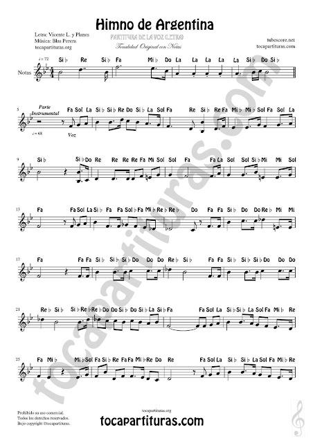 Partitura con Notas del Himno Nacional Argentino versión tocapartituras de la voz cantada del vídeo anterior (flautas, violin, oboe, clarinete, trompeta, cornos, saxofones e instrumentos que leen en clave de sol)