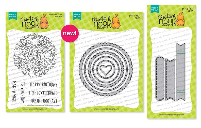 Birthday Roundabout Stamp Set, Circle Frames Die Set, and Banner Trio Die Set by Newton's Nook Designs #newtonsnook