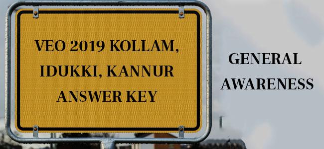 VEO 2019 GK Answer Key Kollam Kannur