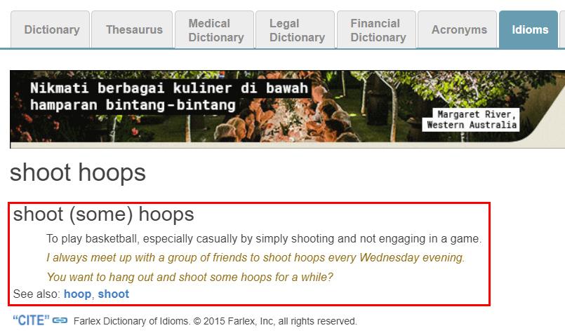 Arti Shoot Some Hoops Menurut Kamus