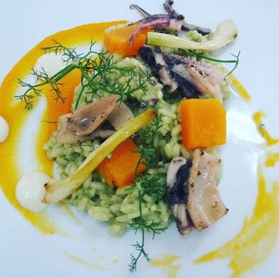 Arroz Verde Con Calabaza, Ajos Tiernos Y Sepia (green Rice With Pumpkin, Baby Garlic And Cuttlefish)