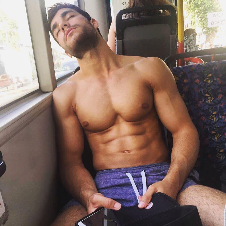 handsome-fit-shirtless-guys-bus-ride-ariel-ben-attar