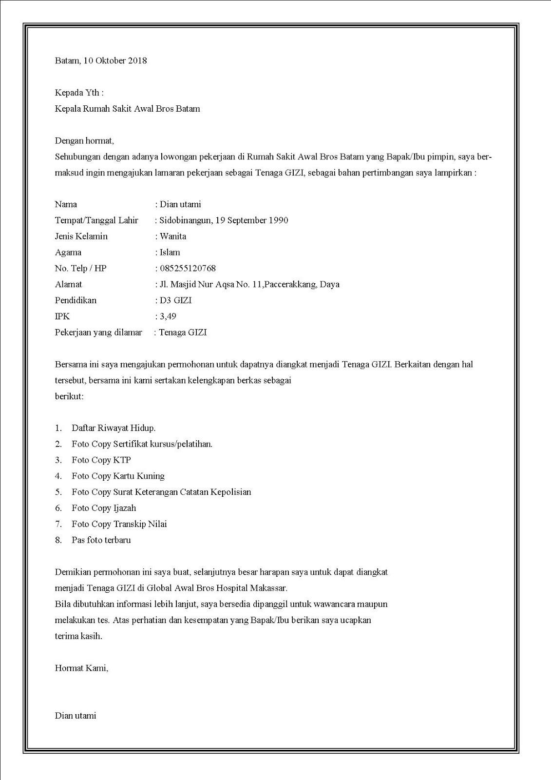 Contoh surat lamaran kerja di rumah sakit Awal Bros