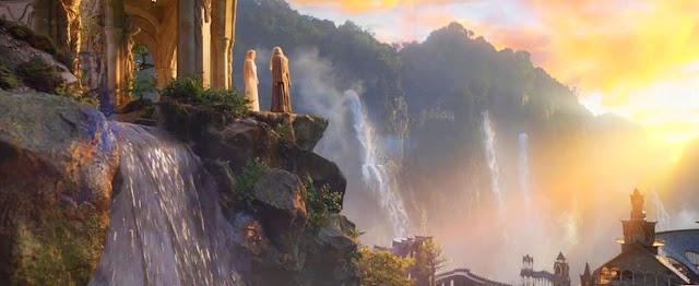 Cena Maravilhosa de Por do Sol em Valfenda no Filme O Hobbit Paisagem - Landsape - com Galadriel e Gandalf