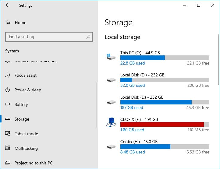 Windows 10 Check Your Storage - www.ceofix.net