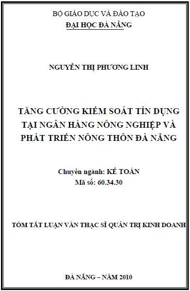 Tăng cường kiểm soát tín dụng tại ngân hàng nông nghiệp và phát triển nông thôn Đà Nẵng