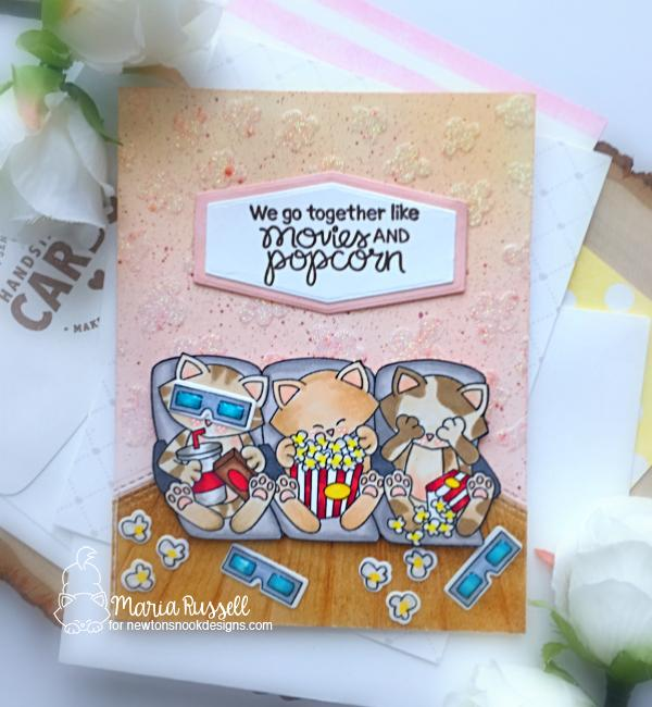 Cats and Movie card by Maria Russell   Newton's Movie Night Stamp Set and Popcorn Stencil by Newton's Nook Designs #newtonsnook #handmade