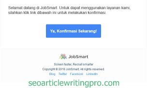 konfirmasi email untuk akun baru di Jobsmart.co.id