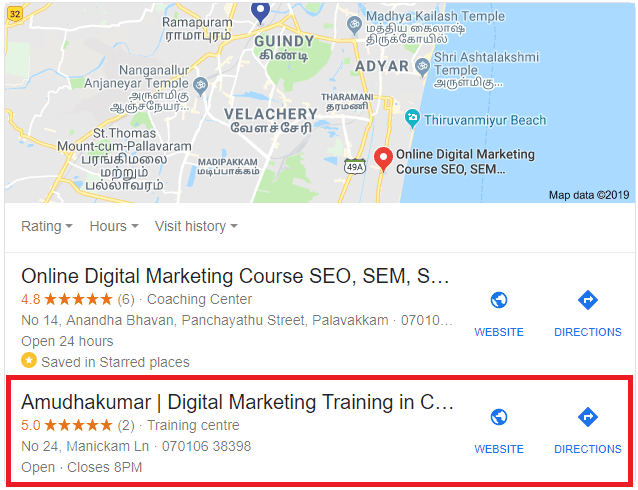 Amudhakumar Digital Marketing Training for local business listing