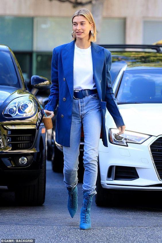 Hailey Bieber Oversized Blue Blazer Vintage Jeans Blue Lace Up Boots
