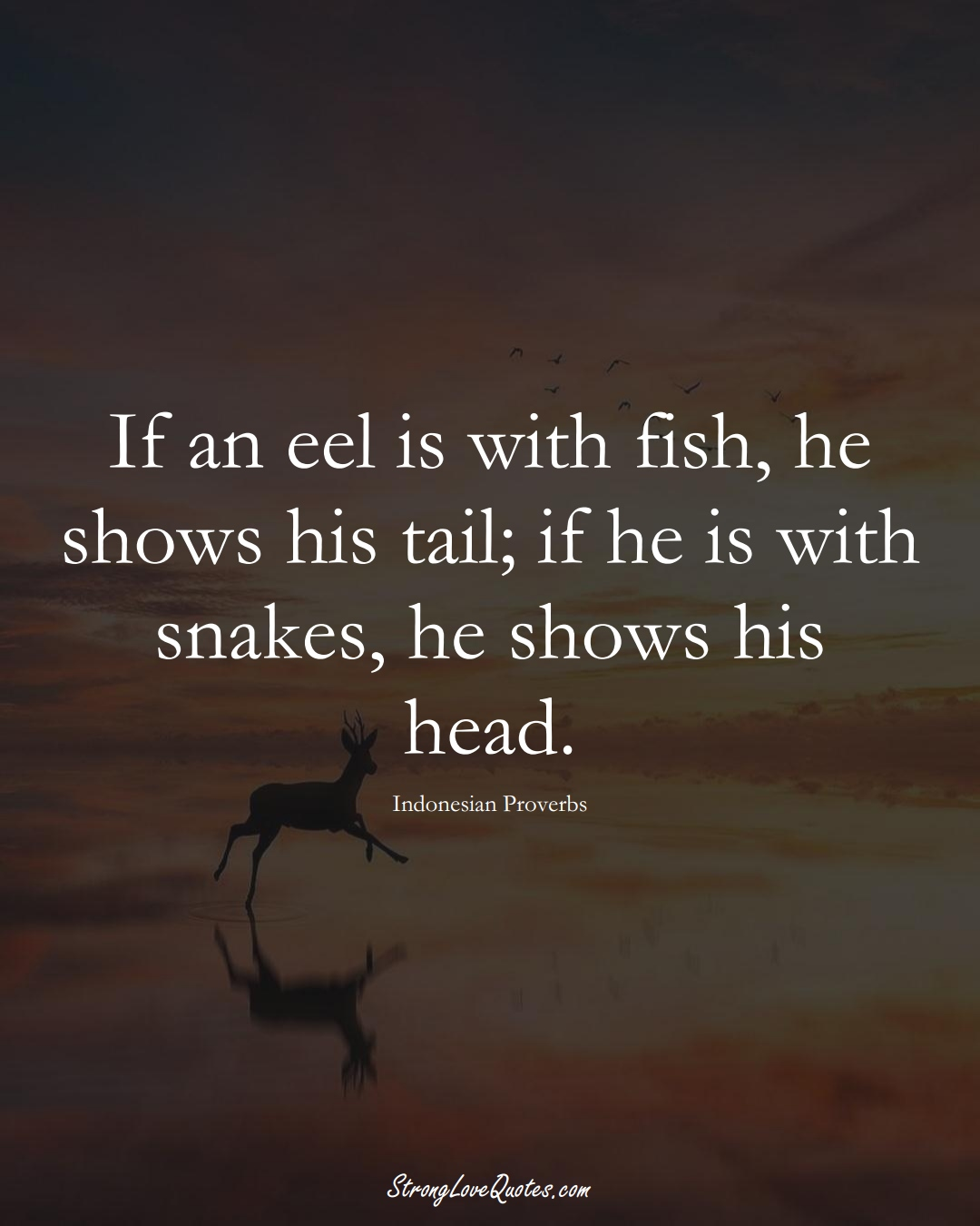 If an eel is with fish, he shows his tail; if he is with snakes, he shows his head. (Indonesian Sayings);  #AsianSayings