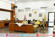 Melalui Zoom Meeting, Kapolres Pangkep Ikuti Rakor Kepala Daerah di Ruang Kerja Bupati