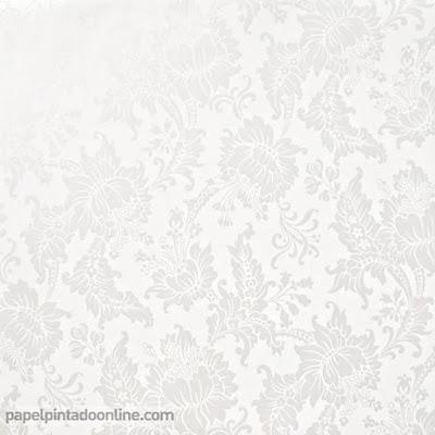 Papel Pintado Flores Clasicas Blanco con Blanco Perlado ref. 5292-1