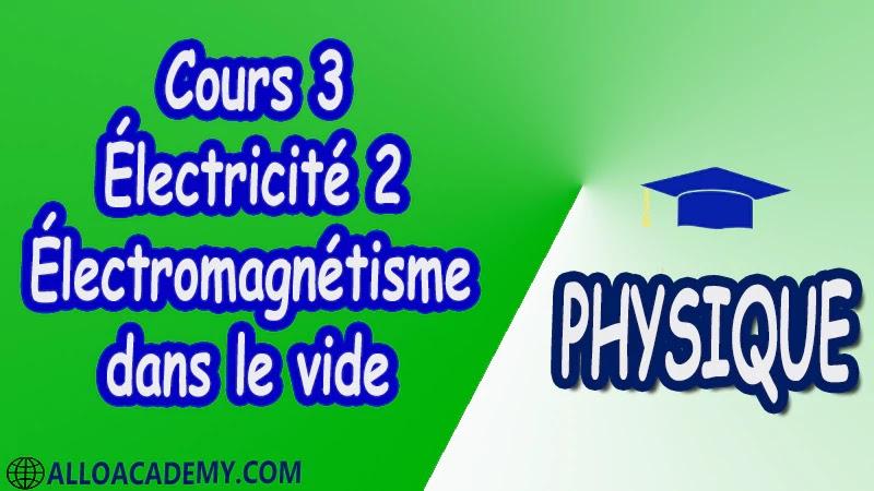 Cours 3 Électricité 2 ( Électromagnétisme dans le vide ) pdf