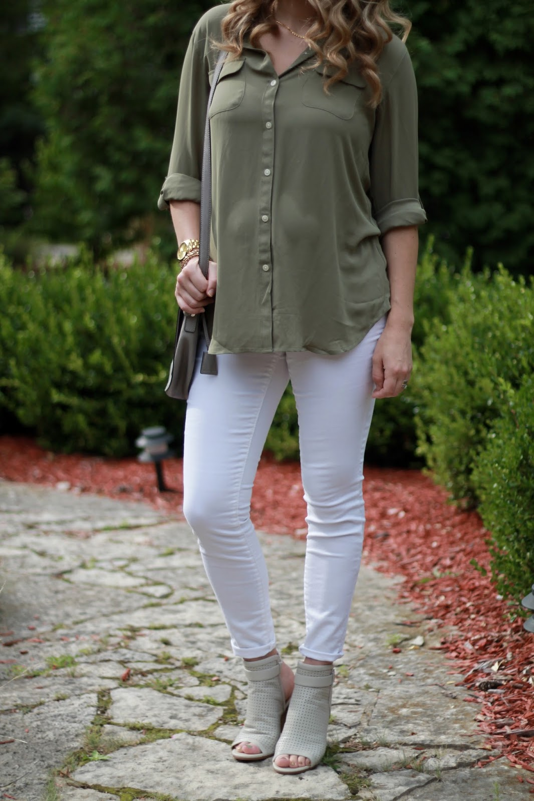 olive button up, white jeans, Sam Edelman peep toe booties, grey crossbody bag, summer maternity outfit, transitional fall outfit, second trimester