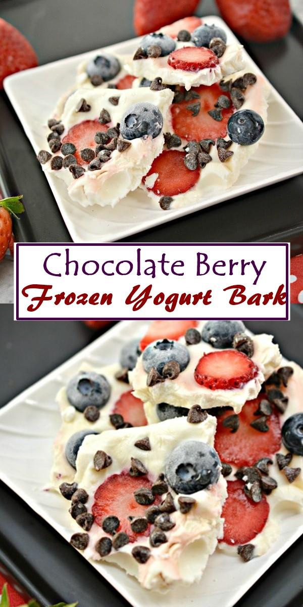Chocolate Berry Frozen Yogurt Bark #dessertrecipes