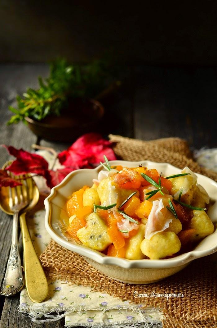 Gnocchi di patate al tartufo con zucca e lardo di