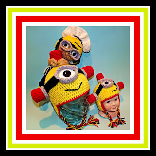 Minion Inspired Siren & French Maid Crochet Hats Pattern© By Connie Hughes Designs©