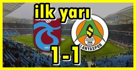 Trabzonspor  1 - 1 Alanyaspor ilk yarı  maç özeti,trabzonspor alanyaspor maç sonucu
