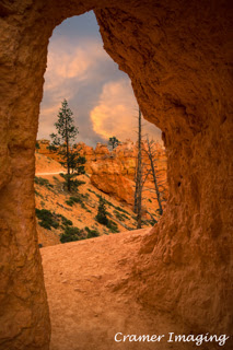 Cramer Imaging's professional quality nature photograph of a walkway arch pointing to a landscape in Bryce Canyon National Park, Utah