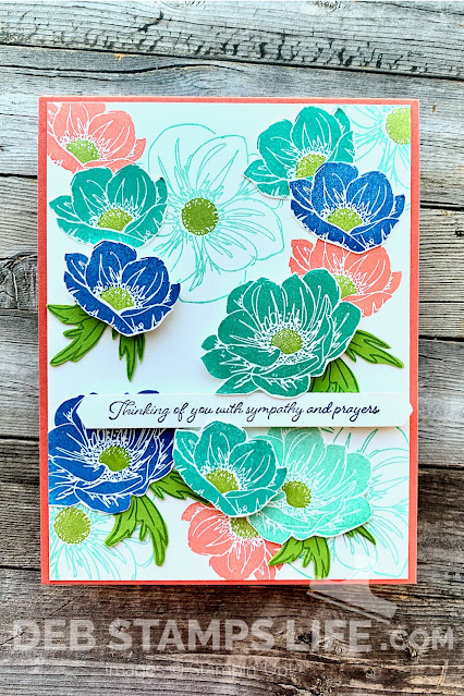 floral sympathy card using Floral essence stamp set in coral green aqua and blue colors