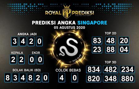 Royal Prediksi SGP Rabu 05 Agustus 2020
