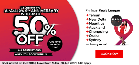 AirAsia X 50% Discount Offer 2017