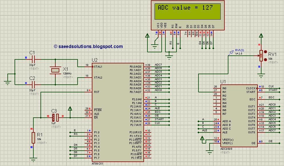 8051 adc circuit using adc0808