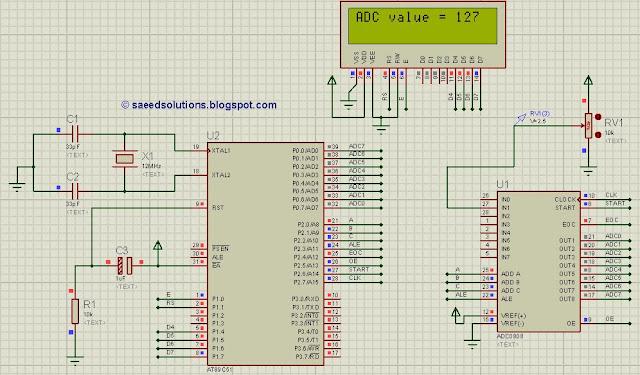8051 ADC (using ADC0808) code + Proteus simulation
