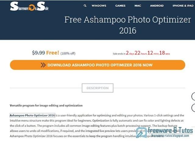 Offre promotionnelle : Ashampoo Photo Optimizer 2016 gratuit !