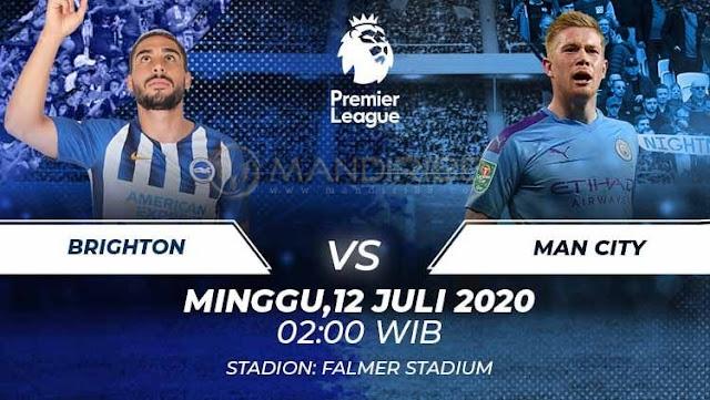 Prediksi Brighton Hove Albion Vs Manchester City, Minggu 12 Juli 2020 Pukul 02.00 WIB @ Mola TV