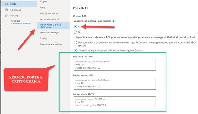 server POP IMAP e SMTP