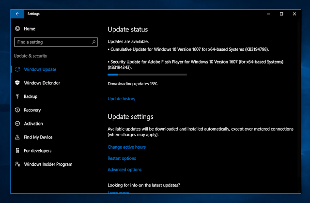 Cumulative update KB3194798 for Windows 10 Version 1607 Build 14393.321